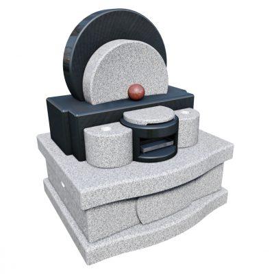 デザイン墓 ラウンド 幸輝石-黒御影石
