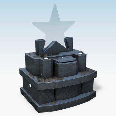 デザイン墓 スター 黒御影石