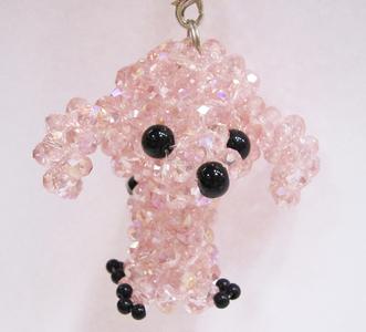 ビーズ 犬 ピンク