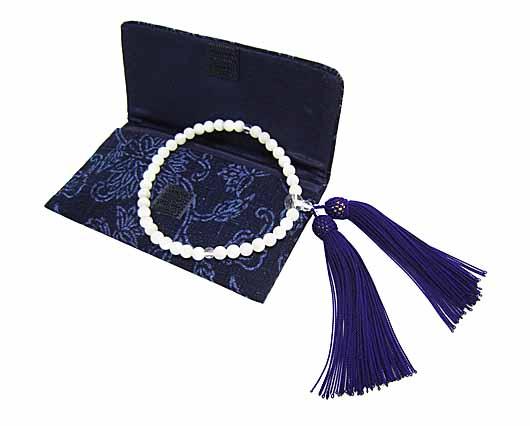 藍染め 木綿 念珠袋蝶貝念珠セット