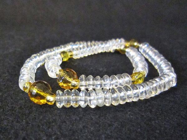 腕輪念珠 水晶108玉 黄水晶入